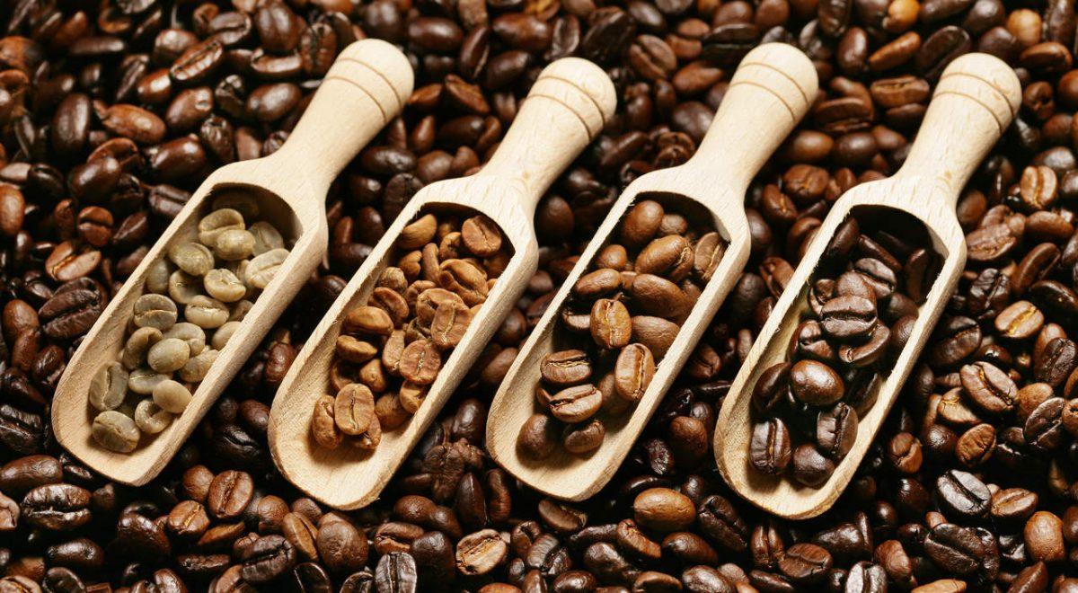 Hạt cà phê rang ở độ rang ở mức độ khác nhau