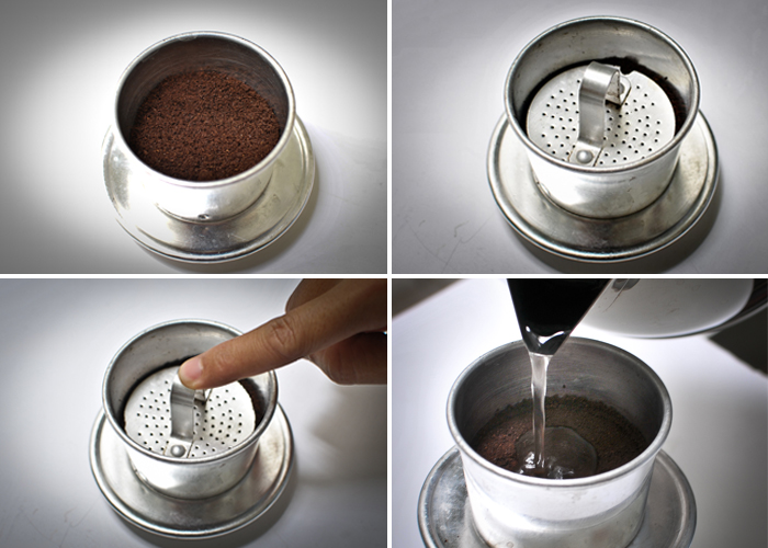 Các bước pha cà phê phin